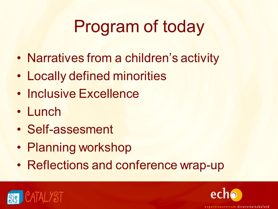 Program of today Narratives from a children's activity Locally defined minorities Inclusive Excellence Lunch Self-assesment Planning workshop Reflecti