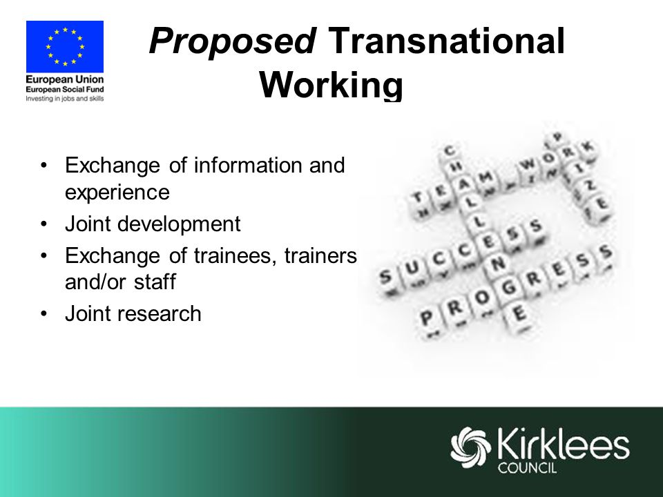 Proposed Transnational Working Exchange of information and experience Joint development Exchange of trainees, trainers and/or staff Joint research