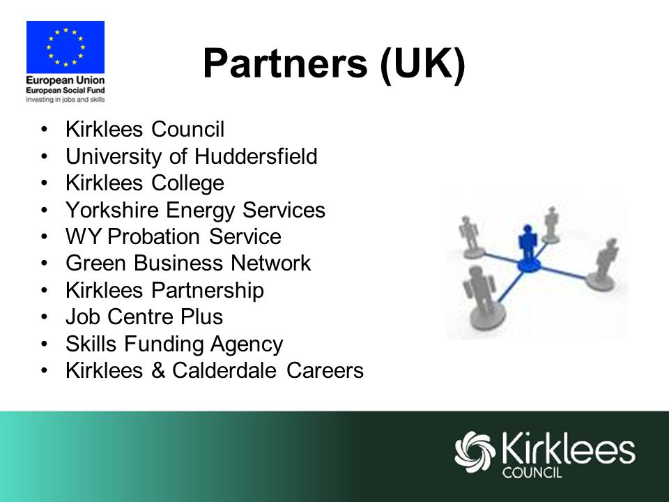 Partners (UK) Kirklees Council University of Huddersfield Kirklees College Yorkshire Energy Services WY Probation Service Green Business Network Kirklees Partnership Job Centre Plus Skills Funding Agency Kirklees & Calderdale Careers