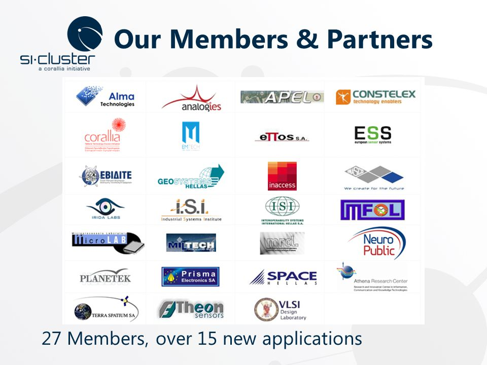 Our Members & Partners 27 Members, over 15 new applications