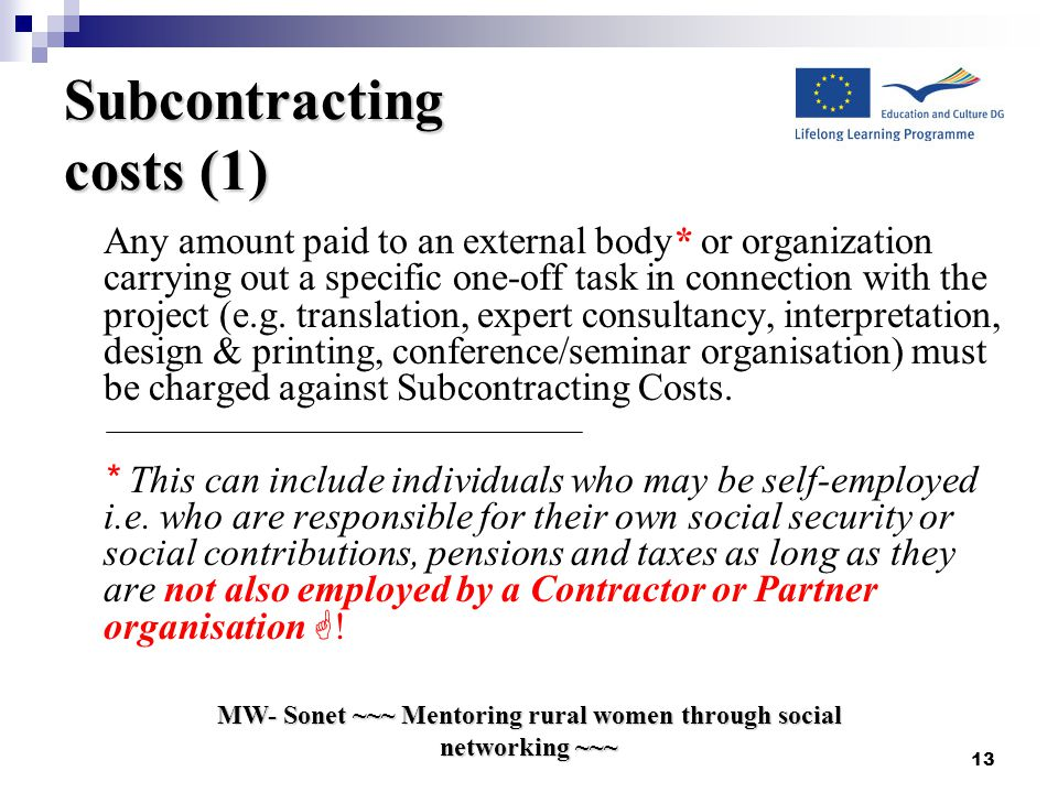 MW- Sonet ~~~ Mentoring rural women through social networking ~~~ 13 Subcontracting costs (1) Any amount paid to an external body* or organization carrying out a specific one-off task in connection with the project (e.g.