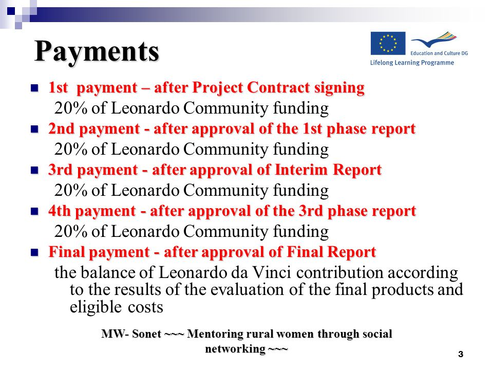 3 Payments 1st payment – after Project Contract signing 1st payment – after Project Contract signing 20% of Leonardo Community funding 2nd payment - after approval of the 1st phase report 2nd payment - after approval of the 1st phase report 20% of Leonardo Community funding 3rd payment - after approval of Interim Report 3rd payment - after approval of Interim Report 20% of Leonardo Community funding 4th payment - after approval of the 3rd phase report 4th payment - after approval of the 3rd phase report 20% of Leonardo Community funding Final payment - after approval of Final Report Final payment - after approval of Final Report the balance of Leonardo da Vinci contribution according to the results of the evaluation of the final products and eligible costs