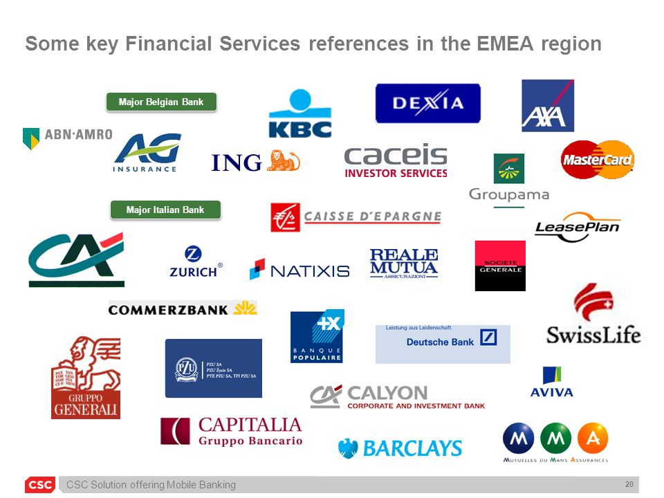 CSC Solution offering Mobile Banking 20 Some key Financial Services references in the EMEA region Major Italian Bank Major Belgian Bank