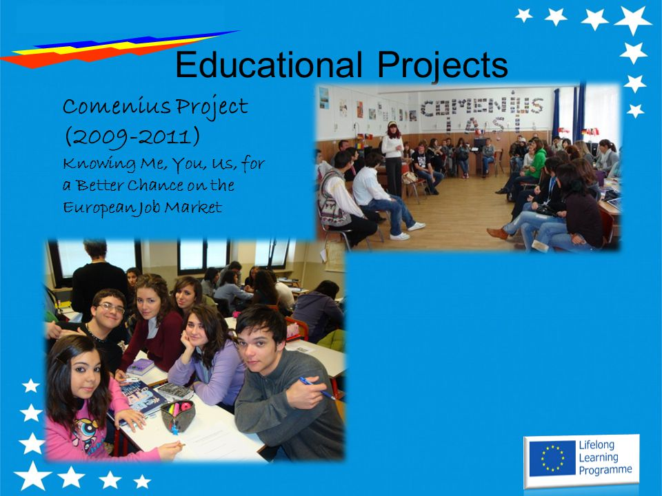 Educational Projects Comenius Project (2009-2011) Knowing Me, You, Us, for a Better Chance on the European Job Market