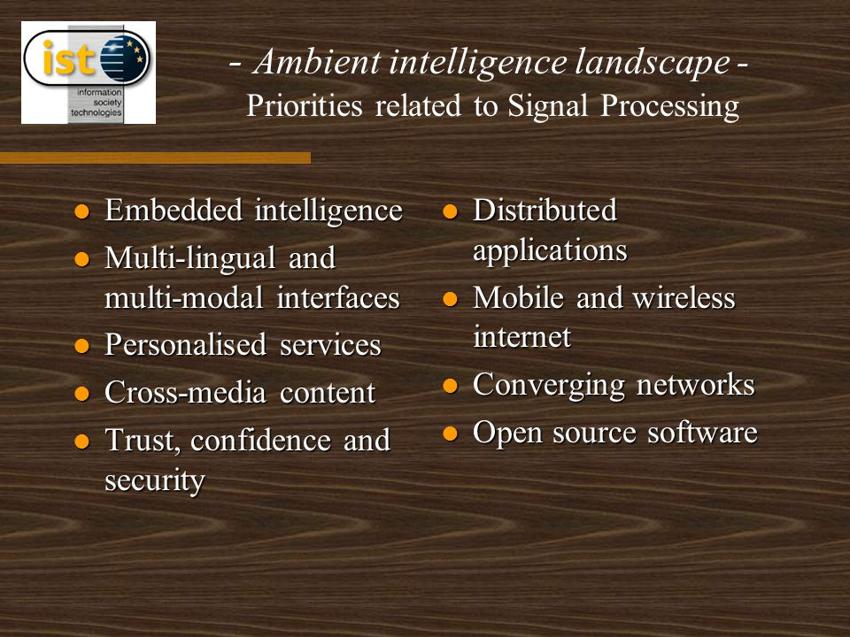 - Ambient intelligence landscape - Priorities related to Signal Processing Embedded intelligence Embedded intelligence Multi-lingual and multi-modal interfaces Multi-lingual and multi-modal interfaces Personalised services Personalised services Cross-media content Cross-media content Trust, confidence and security Trust, confidence and security Distributed applications Mobile and wireless internet Converging networks Open source software