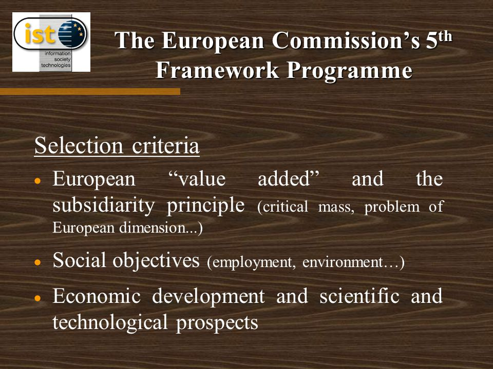 The European Commission's 5 th Framework Programme Selection criteria   European value added and the subsidiarity principle (critical mass, problem of European dimension...)   Social objectives (employment, environment…)   Economic development and scientific and technological prospects