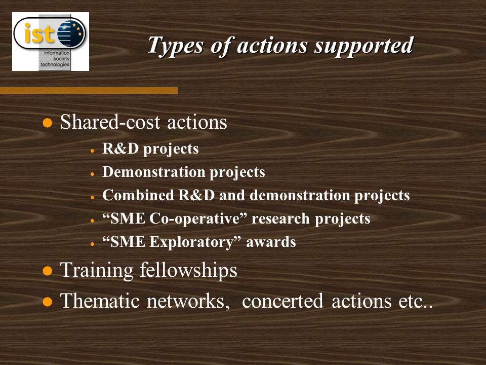 """Types of actions supported Shared-cost actions   R&D projects   Demonstration projects   Combined R&D and demonstration projects   """"SME Co-ope"""