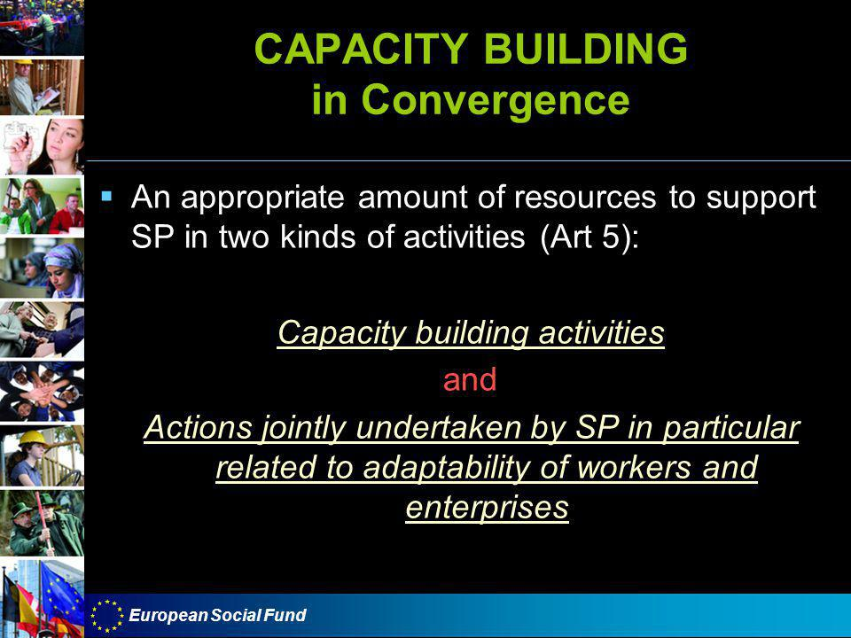 European Social Fund CAPACITY BUILDING in Convergence  An appropriate amount of resources to support SP in two kinds of activities (Art 5): Capacity building activities and Actions jointly undertaken by SP in particular related to adaptability of workers and enterprises