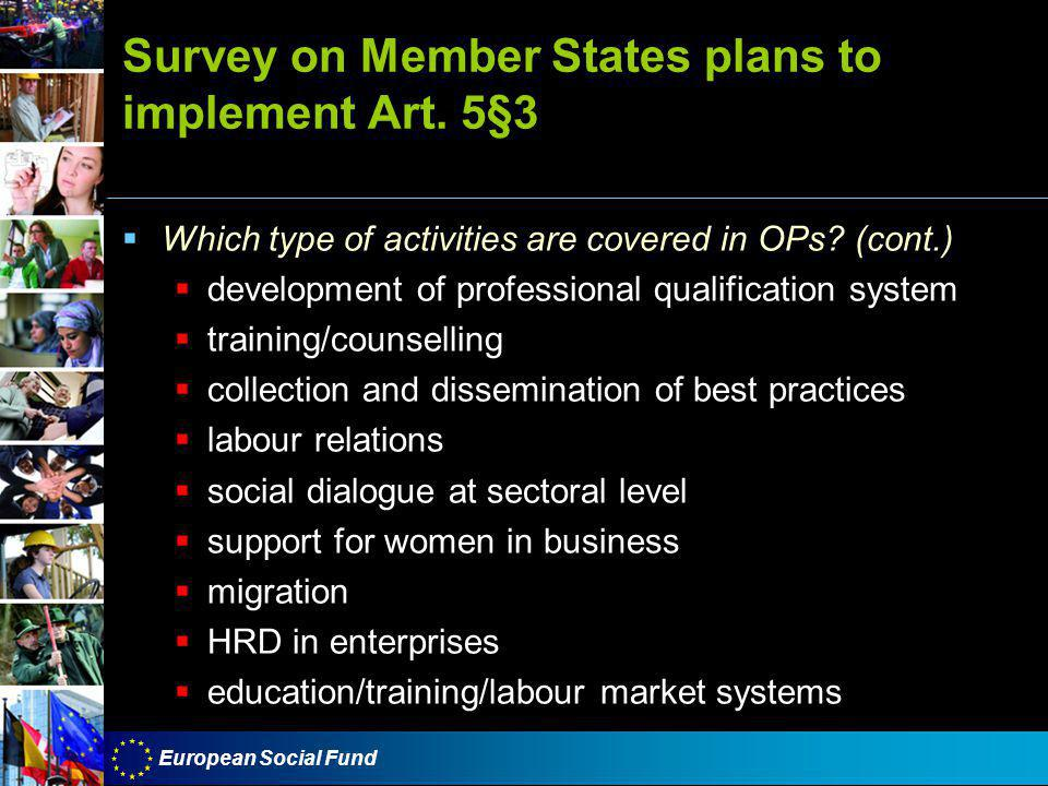 European Social Fund Survey on Member States plans to implement Art.