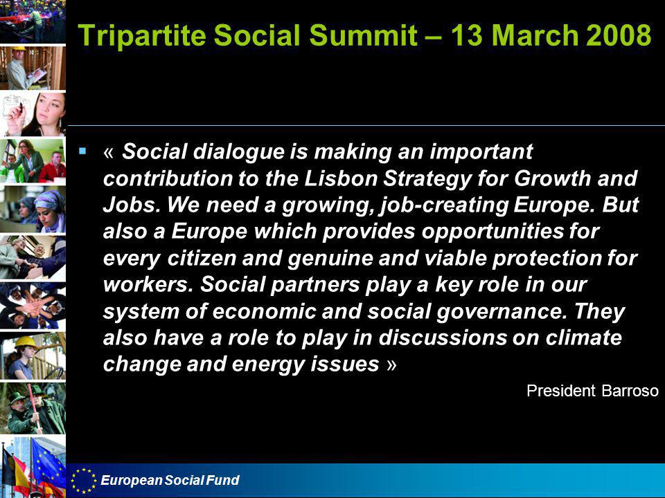 European Social Fund Tripartite Social Summit – 13 March 2008  « Social dialogue is making an important contribution to the Lisbon Strategy for Growth and Jobs.