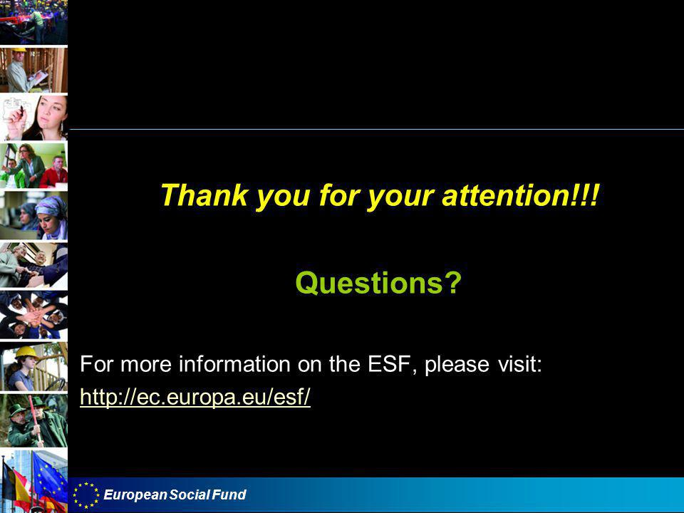 European Social Fund Thank you for your attention!!.