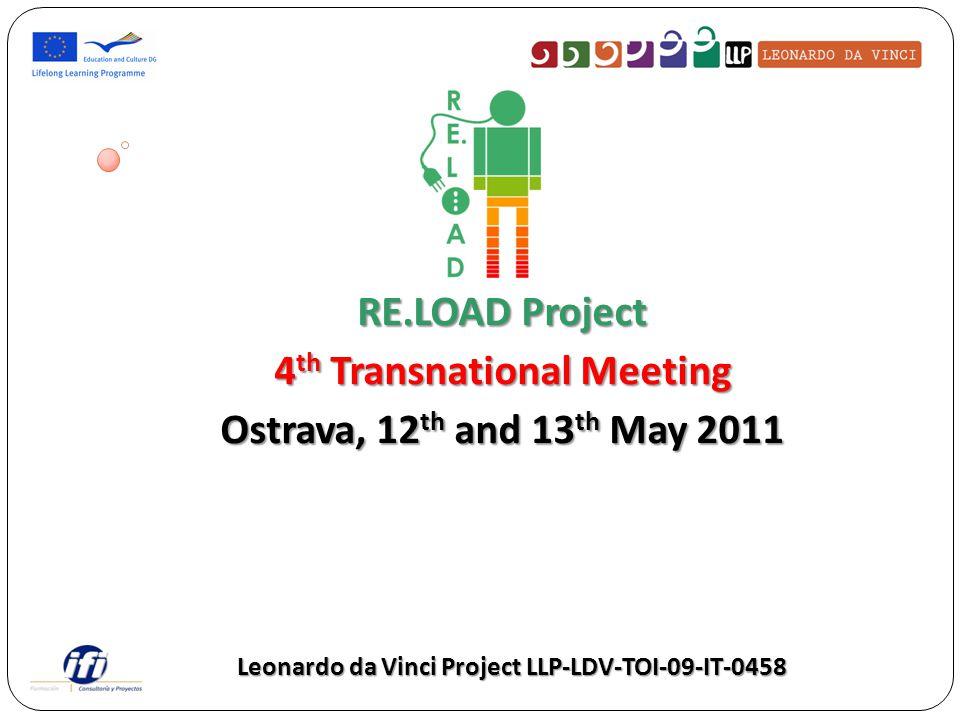 RE.LOAD Project 4 th Transnational Meeting Ostrava, 12 th and 13 th May 2011 Leonardo da Vinci Project LLP-LDV-TOI-09-IT-0458