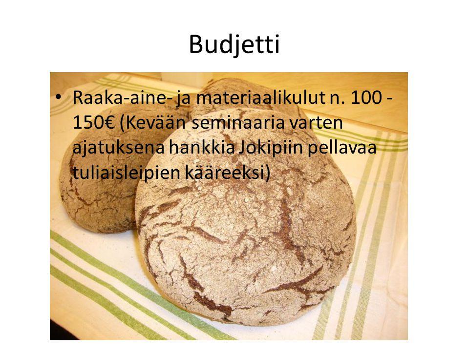 Budjetti Raaka-aine- ja materiaalikulut n.