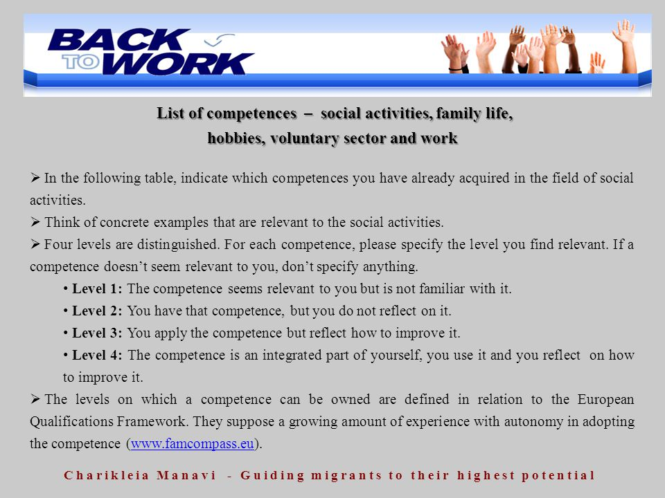 List of competences – social activities, family life, List of competences – social activities, family life, hobbies, voluntary sector and work  In th