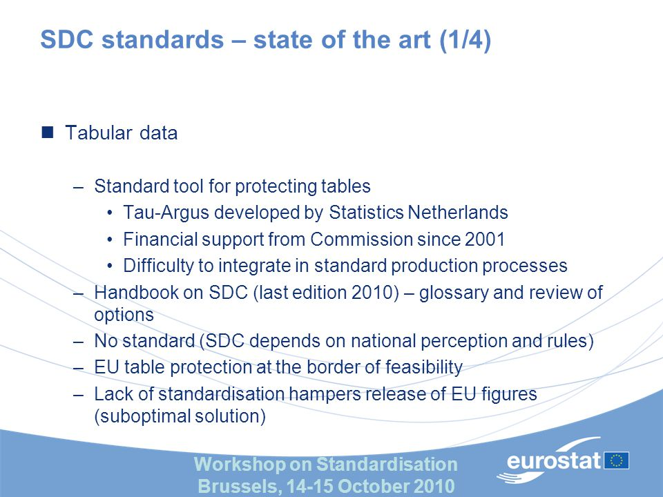 Workshop on Standardisation Brussels, 14-15 October 2010 SDC standards – state of the art (1/4) Tabular data –Standard tool for protecting tables Tau-Argus developed by Statistics Netherlands Financial support from Commission since 2001 Difficulty to integrate in standard production processes –Handbook on SDC (last edition 2010) – glossary and review of options –No standard (SDC depends on national perception and rules) –EU table protection at the border of feasibility –Lack of standardisation hampers release of EU figures (suboptimal solution)