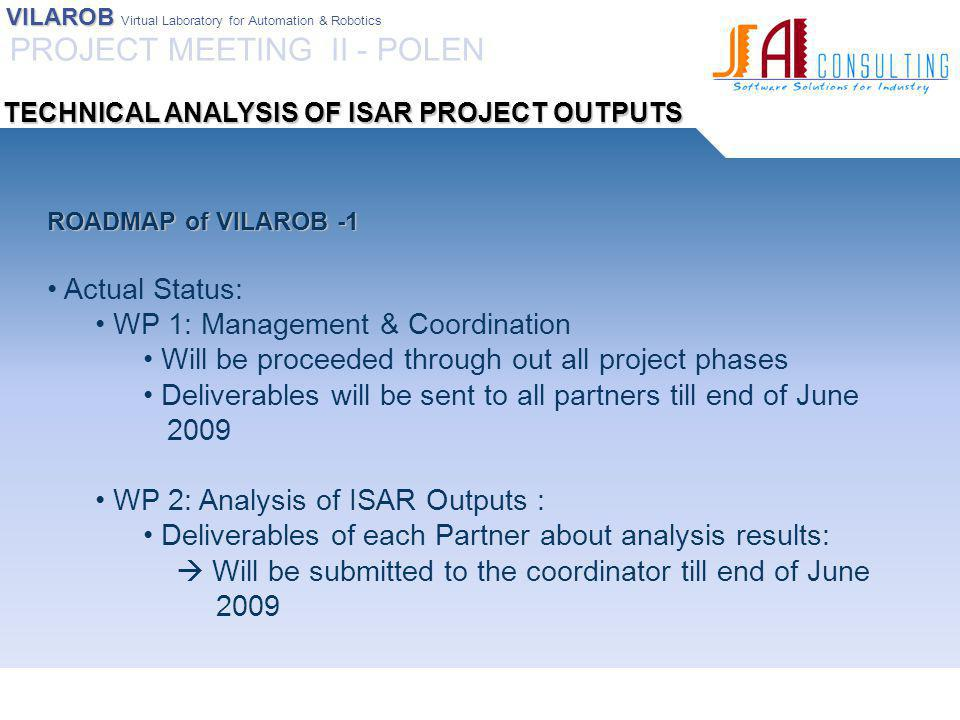 VILAROB VILAROB Virtual Laboratory for Automation & Robotics ROADMAP of VILAROB -1 Actual Status: WP 1: Management & Coordination Will be proceeded through out all project phases Deliverables will be sent to all partners till end of June 2009 WP 2: Analysis of ISAR Outputs : Deliverables of each Partner about analysis results:  Will be submitted to the coordinator till end of June 2009 PROJECT MEETING II - POLEN TECHNICAL ANALYSIS OF ISAR PROJECT OUTPUTS