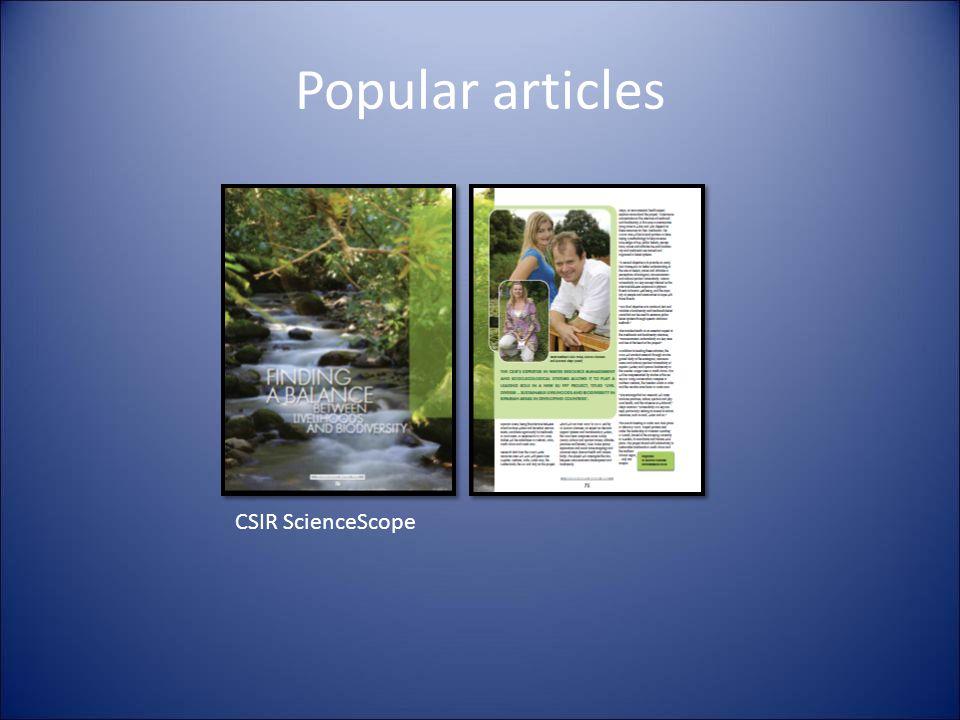 Popular articles CSIR ScienceScope