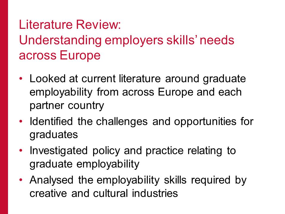 Looked at current literature around graduate employability from across Europe and each partner country Identified the challenges and opportunities for graduates Investigated policy and practice relating to graduate employability Analysed the employability skills required by creative and cultural industries Literature Review: Understanding employers skills' needs across Europe