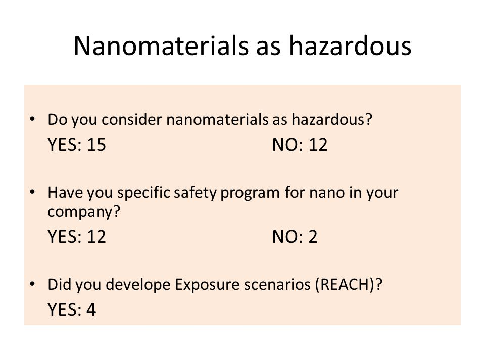 Nanomaterials as hazardous Do you consider nanomaterials as hazardous.