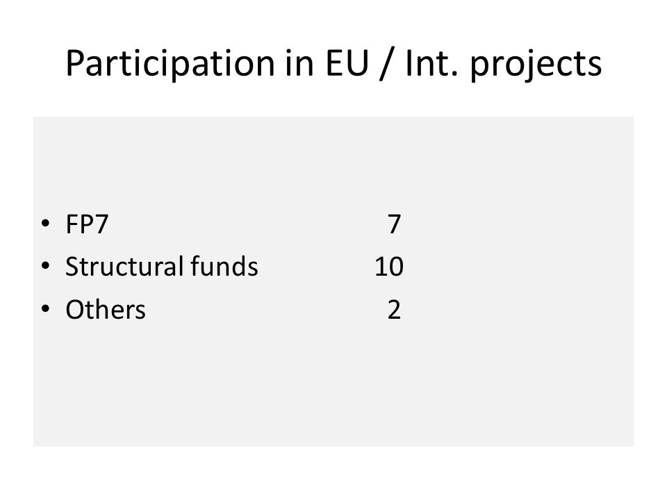 Participation in EU / Int. projects FP7 7 Structural funds10 Others 2