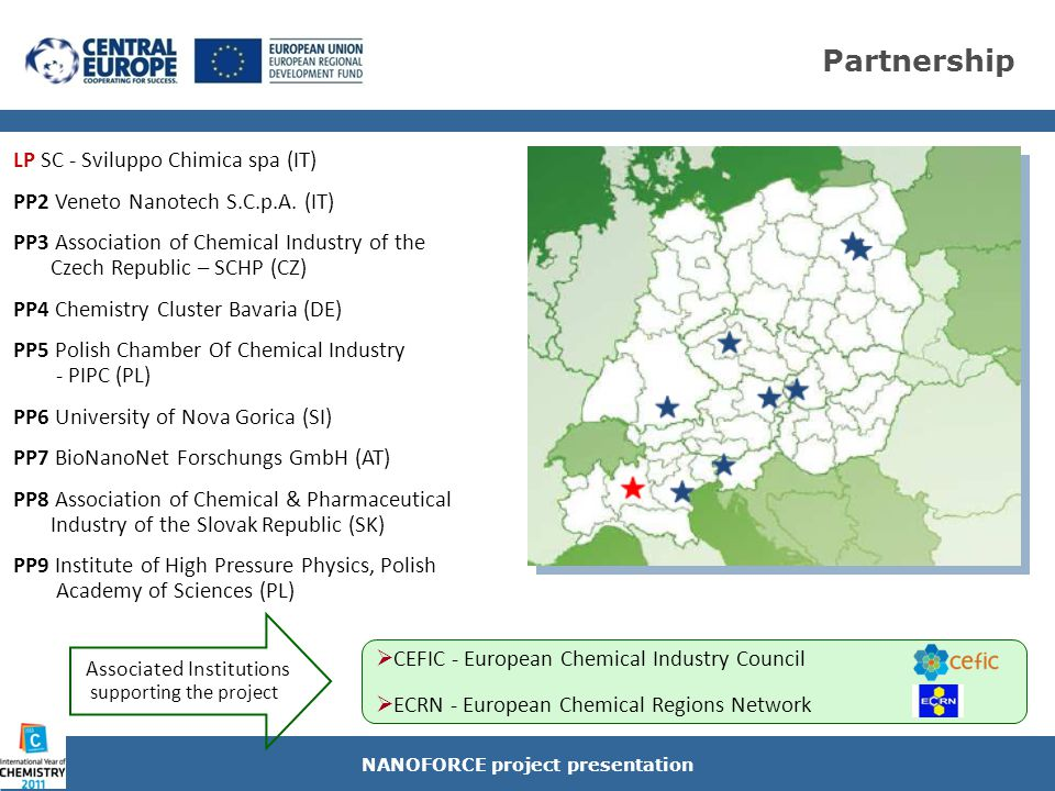 NANOFORCE specific objectives Outlining the current situation of the nanotechnology in chemical industry in the Central Europe space NANOFORCE project presentation Nanodeals Generator  Innovative ICT nanotech platform to connect research with the chemical industry (knowledge to business), provide expertise tailored to individual needs & support for innovative SMEs in launching new joint initiatives to boost the Nano R&D and the effectiveness of innovation among chemical nanotech companies in the CE area Development of the Technology Rating Methodology to provide support and expertise for chemical enterprises in elaborating new initiatives and benchmarking of identified nano-proposals Capacity building of nanotech SMEs to prepare them to tackle a wider range of innovation challenges in the high-technology areas Proposal for establishment of the Interregional Nanotech Venture Capital Fund to ensure the project follow-up and give a concrete solution of funding to the CE nanotech initiatives According to EU REACH Reg, deepening research efforts & roadmaps for some key nanotechnology materials which are generally used in the industrial sector of the project regions to assess effects on human health, exposure & environmental impacts and finally demonstrate their proficiency,sustainability and market orientation