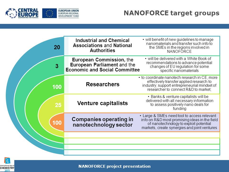 NANOFORCE innovative results NANOFORCE project presentation creation of transnational NANOTECH CLUSTER & potential venture capitals Nanodeals Generator Technology Rating SYNERGIC SET OF TECHNICAL & FINANCIAL TOOLS for chemical enterprises and R&D centers in a specific macro - regional area to: address knowledge to business in the nanotech sectors improve the industrial potential & competitiveness in the nanotech sector in the CE cooperation space CE Nanotechnology Roadmap tailored to be applied to specific market segments that reached sufficient maturity to turn results of research into industrial processes