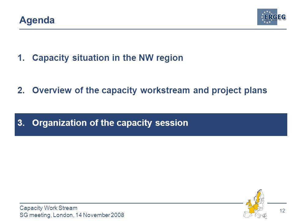 12 Capacity Work Stream SG meeting, London, 14 November 2008 Agenda 1.