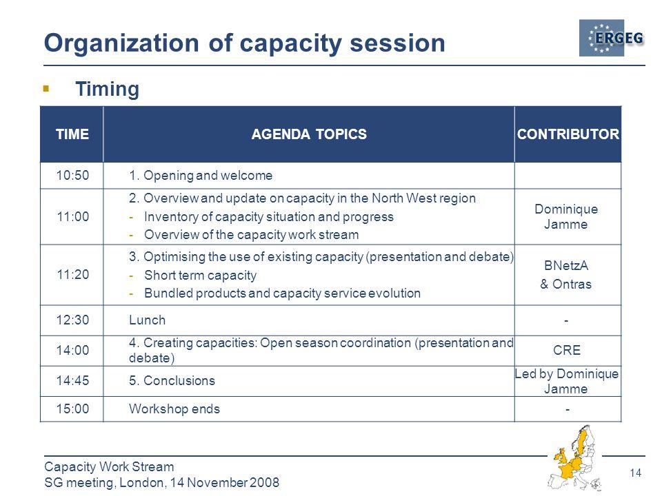 14 Capacity Work Stream SG meeting, London, 14 November 2008 Organization of capacity session TIMEAGENDA TOPICSCONTRIBUTOR 10:501.
