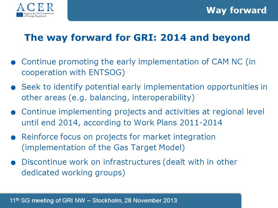 11 th SG meeting of GRI NW – Stockholm, 28 November 2013 The way forward for GRI: 2014 and beyond.