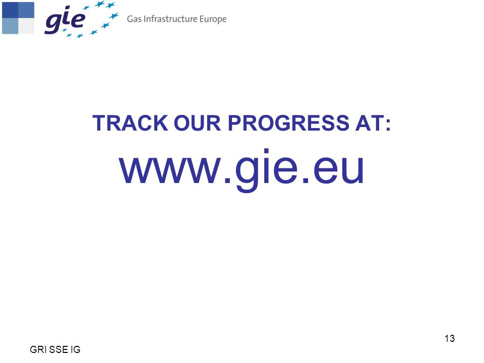 TRACK OUR PROGRESS AT: www.gie.eu GRI SSE IG 13