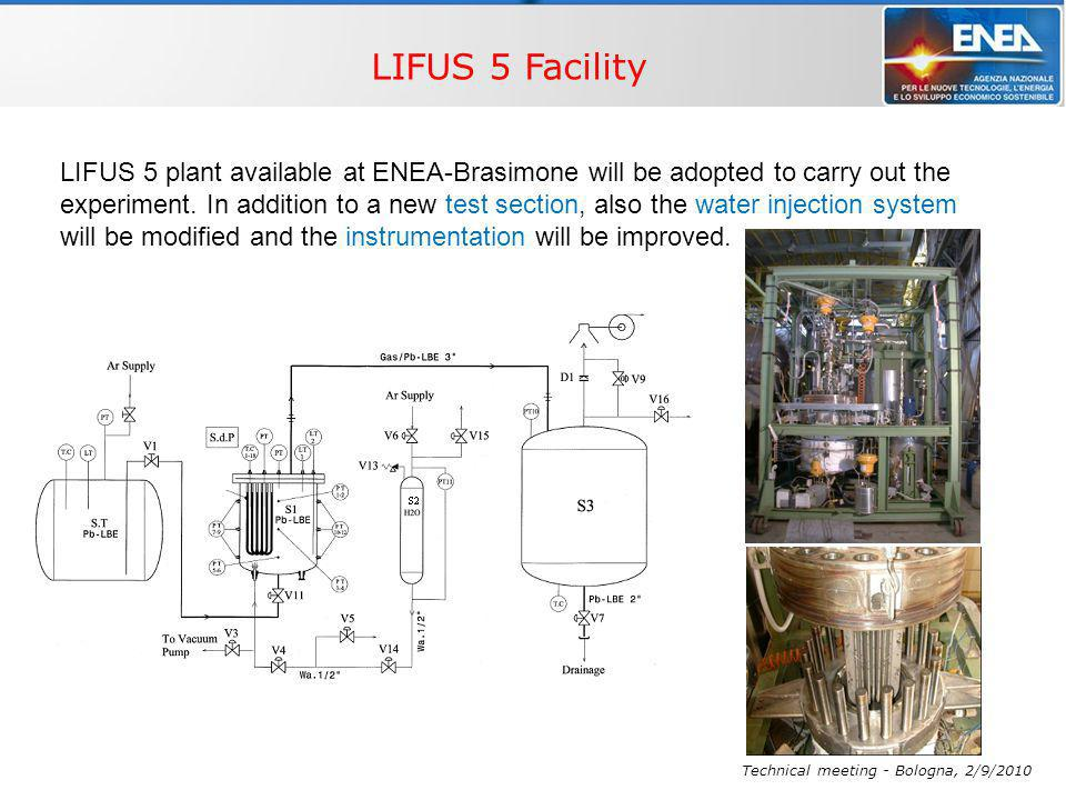 WP4 – Multi-phase flow THINS, Technical meeting - Bologna, 2/9/2010 LIFUS 5 plant available at ENEA-Brasimone will be adopted to carry out the experiment.