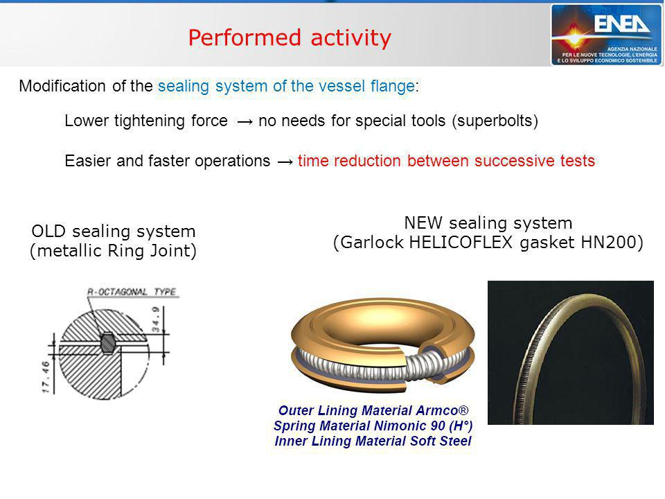 WP4 – Multi-phase flow THINS, Technical meeting - Bologna, 2/9/2010 Performed activity NEW sealing system (Garlock HELICOFLEX gasket HN200) OLD sealin