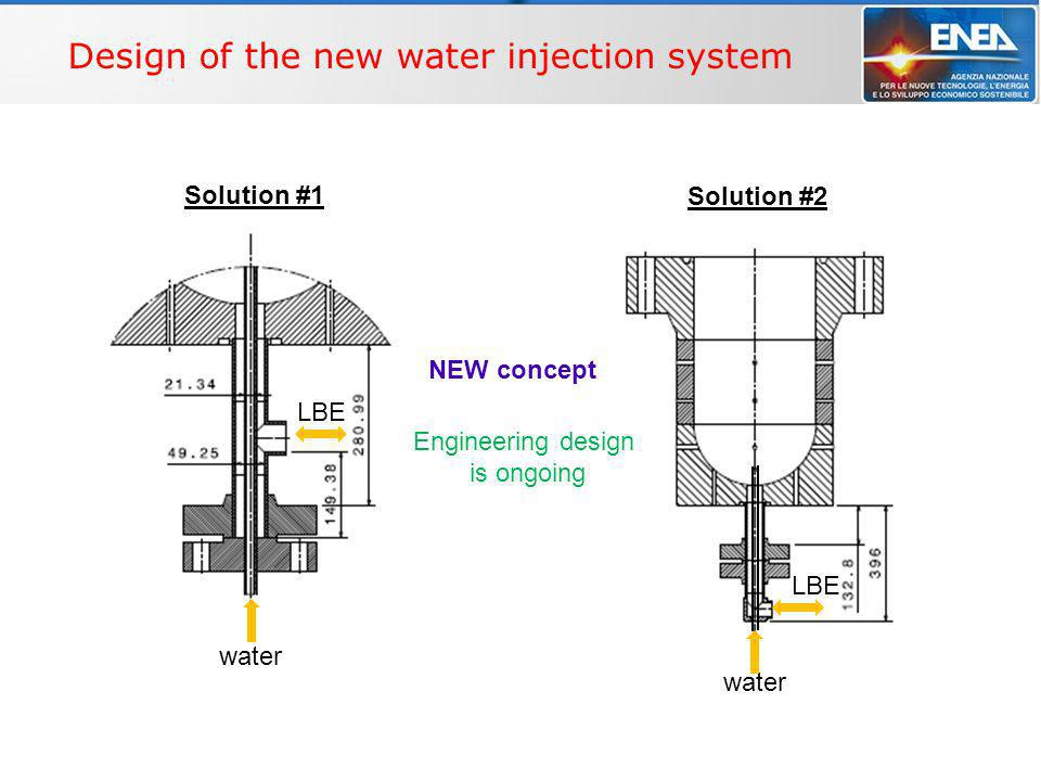 WP4 – Multi-phase flow THINS, Technical meeting - Bologna, 2/9/2010 Design of the new water injection system NEW concept Solution #1 Solution #2 water LBE water Engineering design is ongoing