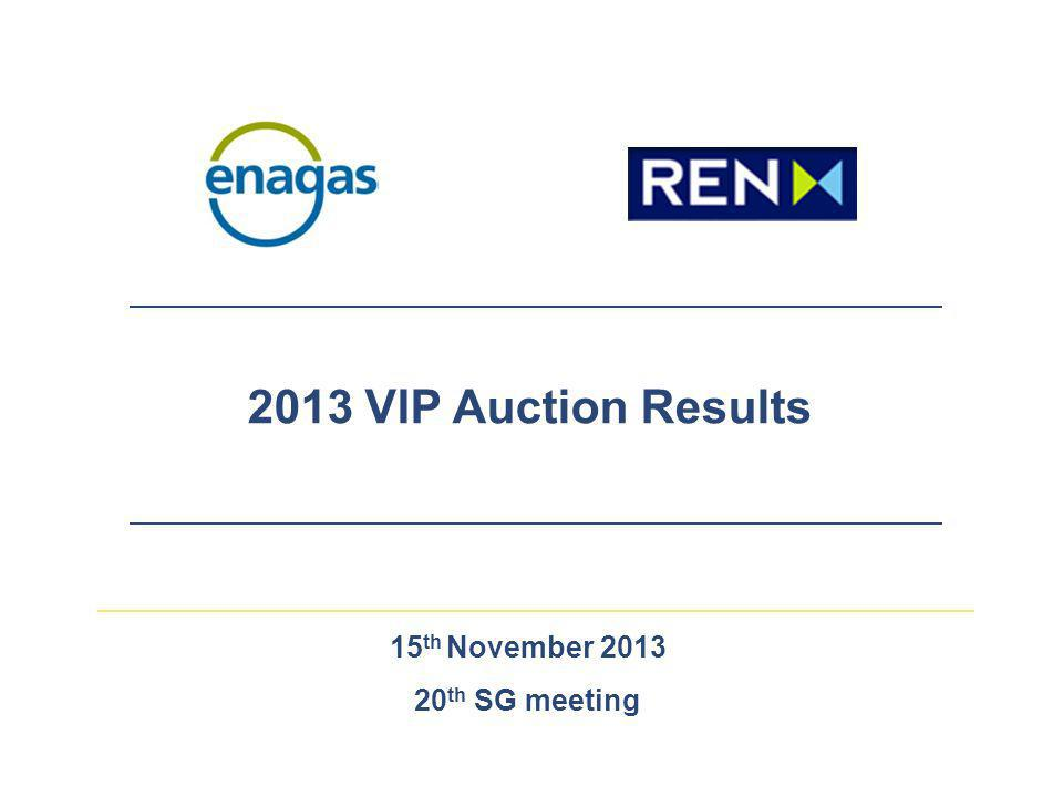 2 VIP – Auction Process  Auction Calendar  Pre-qualification phase: 3 rd – 12 th June  Annual yearly capacity auction process: 13 th June – 2 nd July  Annual quarterly capacity auction process: 3 rd – 19 th July  Interruptible capacity auction process: 22 nd – 25 th July (only if total firm capacity was previously allocated)  Total Capacity Offered VIP 2013 between Portugal-Spain