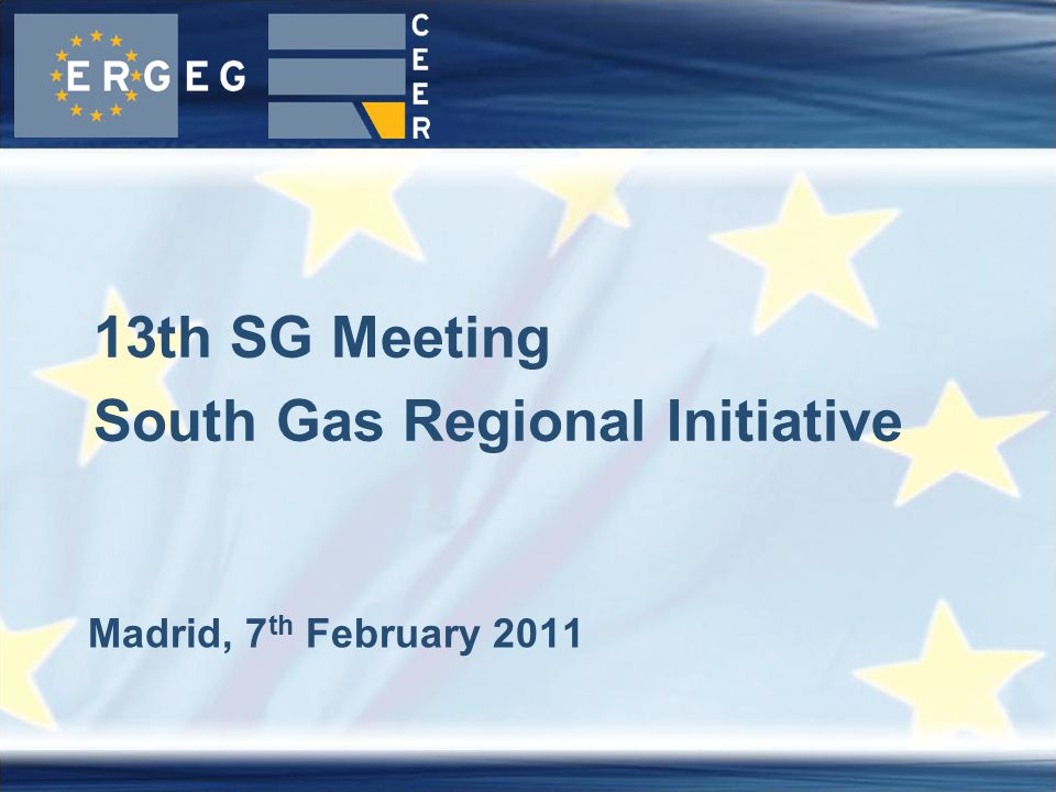Madrid, 7 th February 2011 13th SG Meeting South Gas Regional Initiative