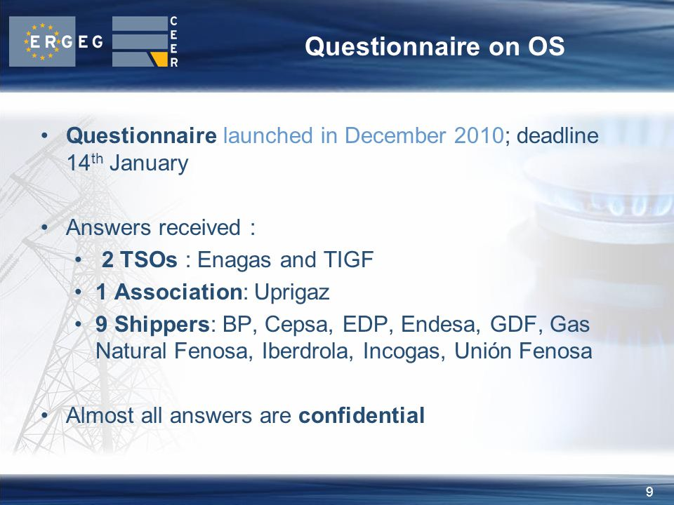 9 Questionnaire on OS Questionnaire launched in December 2010; deadline 14 th January Answers received : 2 TSOs : Enagas and TIGF 1 Association: Uprigaz 9 Shippers: BP, Cepsa, EDP, Endesa, GDF, Gas Natural Fenosa, Iberdrola, Incogas, Unión Fenosa Almost all answers are confidential