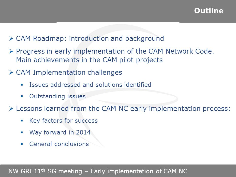 NW GRI 11 th SG meeting – Early implementation of CAM NC  CAM Roadmap: introduction and background  Progress in early implementation of the CAM Network Code.