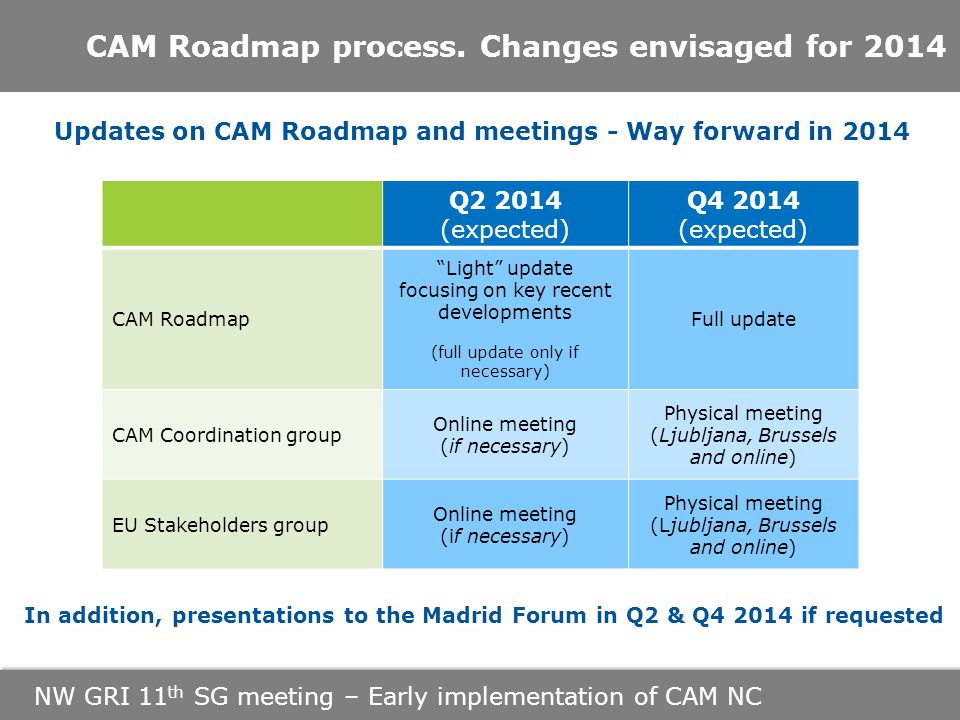 NW GRI 11 th SG meeting – Early implementation of CAM NC CAM Roadmap process.