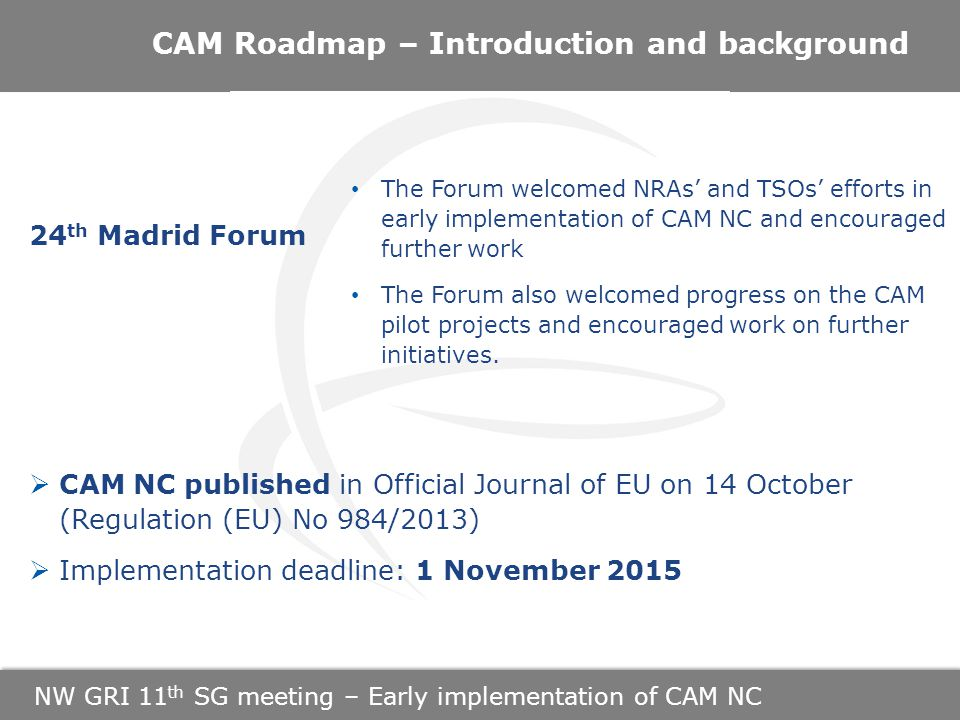NW GRI 11 th SG meeting – Early implementation of CAM NC CAM Roadmap – Introduction and background 24 th Madrid Forum  CAM NC published in Official Journal of EU on 14 October (Regulation (EU) No 984/2013)  Implementation deadline: 1 November 2015 The Forum welcomed NRAs' and TSOs' efforts in early implementation of CAM NC and encouraged further work The Forum also welcomed progress on the CAM pilot projects and encouraged work on further initiatives.