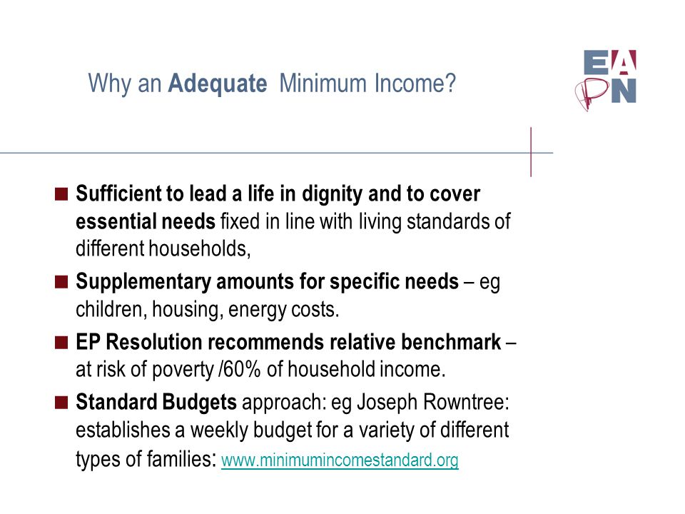 Why an Adequate Minimum Income.