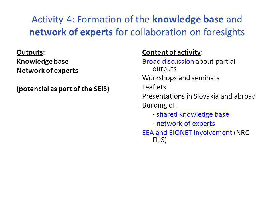 Activity 4: Formation of the knowledge base and network of experts for collaboration on foresights Outputs: Knowledge base Network of experts (potencial as part of the SEIS) Content of activity: Broad discussion about partial outputs Workshops and seminars Leaflets Presentations in Slovakia and abroad Building of: - shared knowledge base - network of experts EEA and EIONET involvement (NRC FLIS)