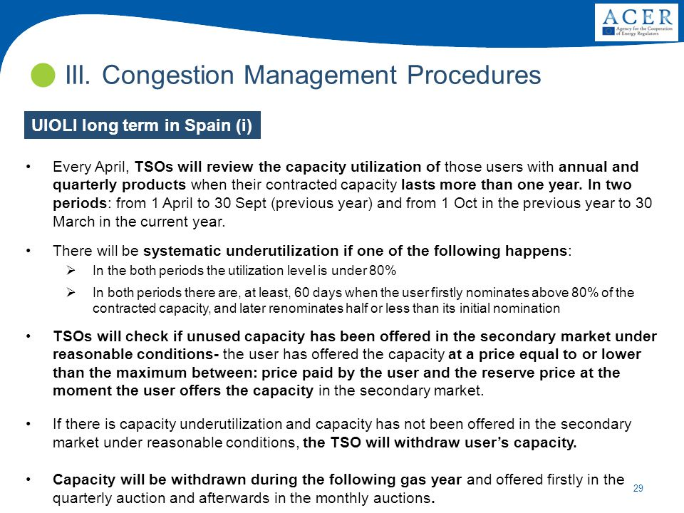 29 III. Congestion Management Procedures Every April, TSOs will review the capacity utilization of those users with annual and quarterly products when
