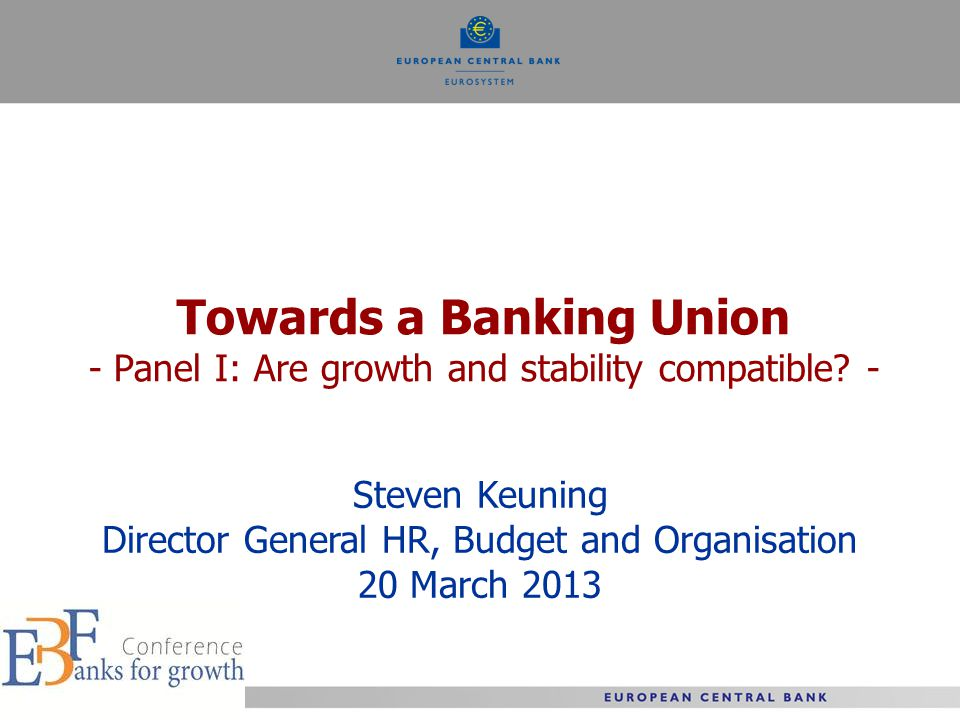 Towards a Banking Union - Panel I: Are growth and stability compatible.