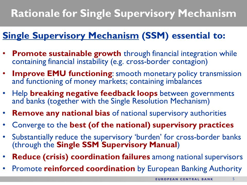 Rationale for Single Supervisory Mechanism Single Supervisory Mechanism (SSM) essential to: Promote sustainable growth through financial integration while containing financial instability (e.g.