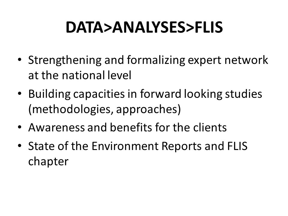 DATA>ANALYSES>FLIS International cooperation as the crucial factor in capacity development Access to data and information from the other countries (sharing best practice examples) Methodologies and Indicators as the key challenge FLIServices tools and opportunities Web based platform/IT services in SK: http://www.enviroportal.sk http://www.enviroportal.sk