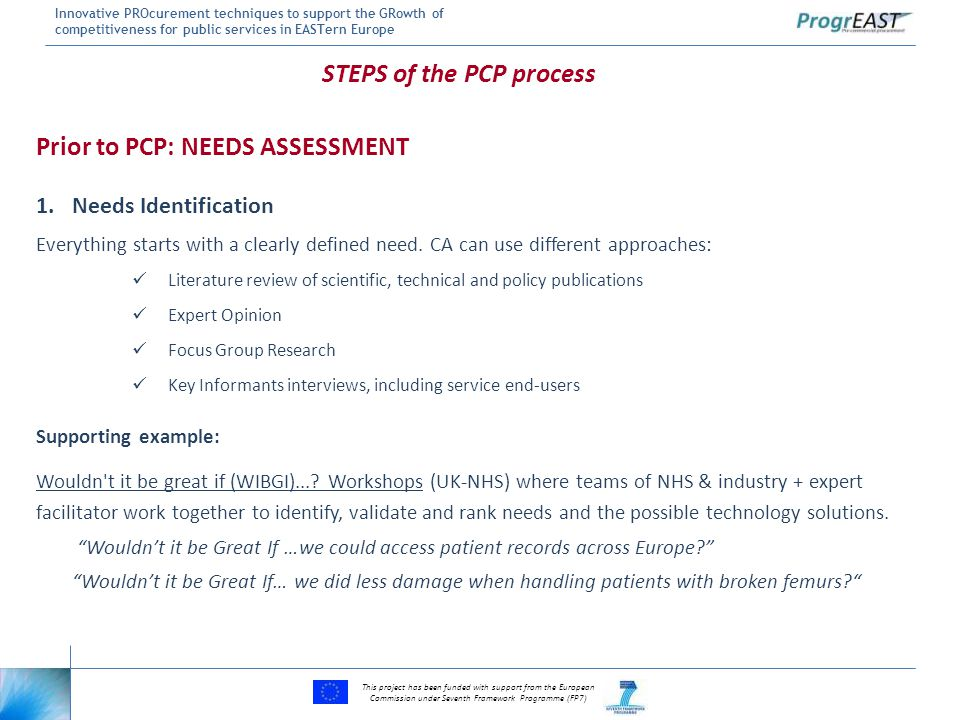 This project has been funded with support from the European Commission under Seventh Framework Programme (FP7) Innovative PROcurement techniques to support the GRowth of competitiveness for public services in EASTern Europe Prior to PCP: NEEDS ASSESSMENT 1.Needs Identification Everything starts with a clearly defined need.