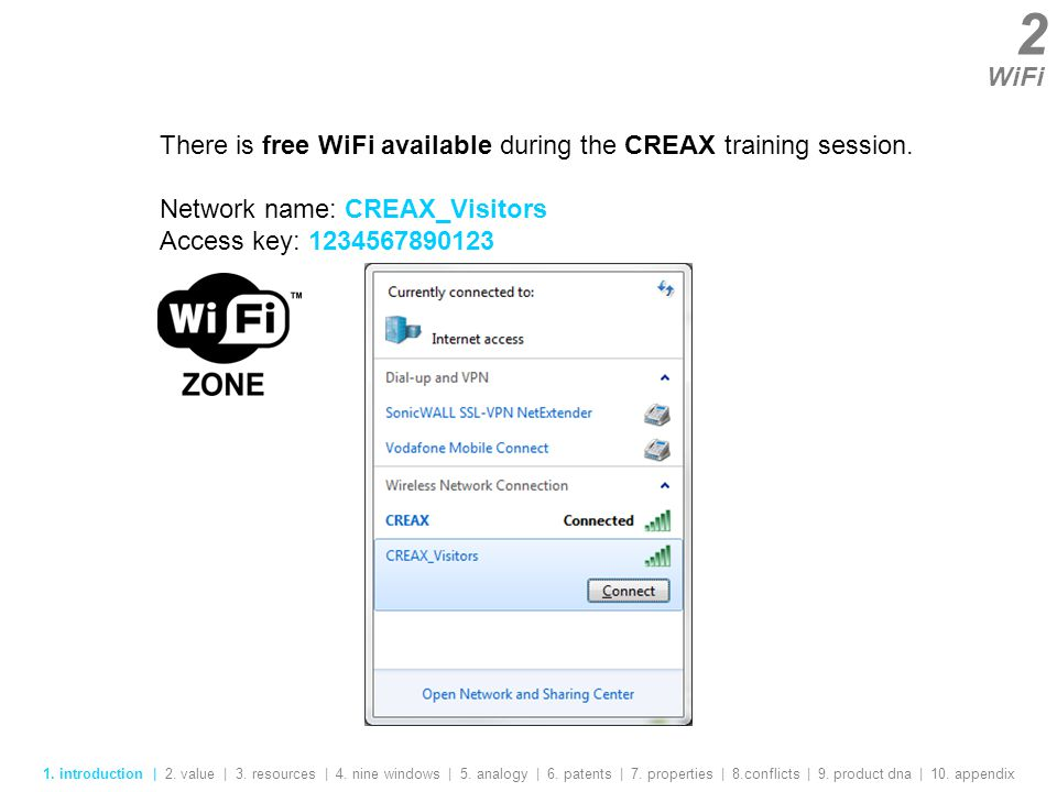 2 WiFi There is free WiFi available during the CREAX training session.