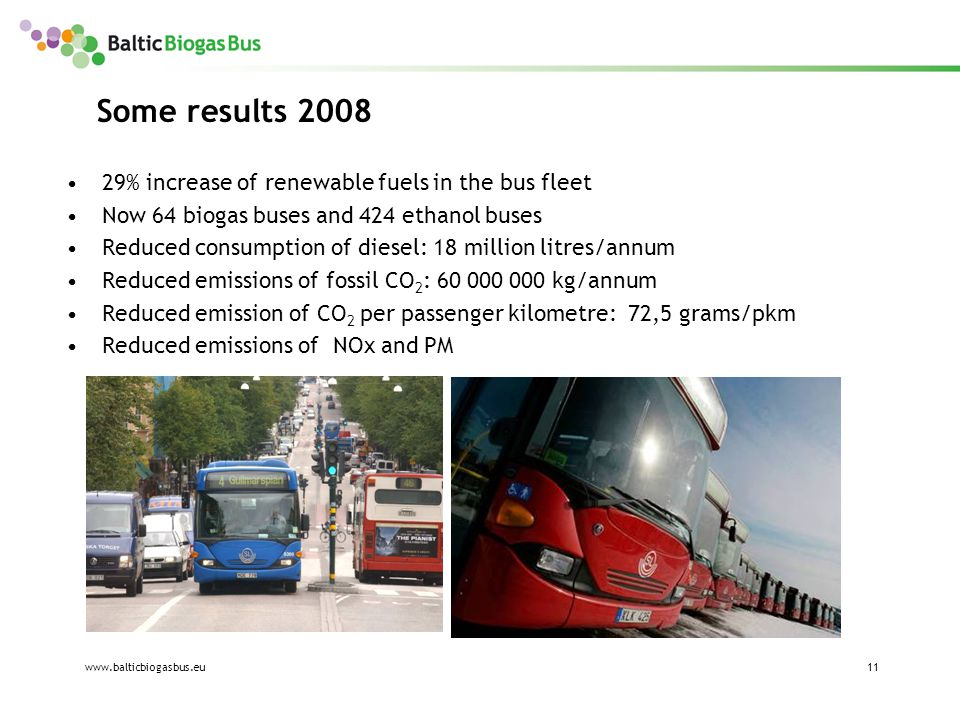 www.balticbiogasbus.eu11 Some results 2008 29% increase of renewable fuels in the bus fleet Now 64 biogas buses and 424 ethanol buses Reduced consumption of diesel: 18 million litres/annum Reduced emissions of fossil CO 2 : 60 000 000 kg/annum Reduced emission of CO 2 per passenger kilometre: 72,5 grams/pkm Reduced emissions of NOx and PM