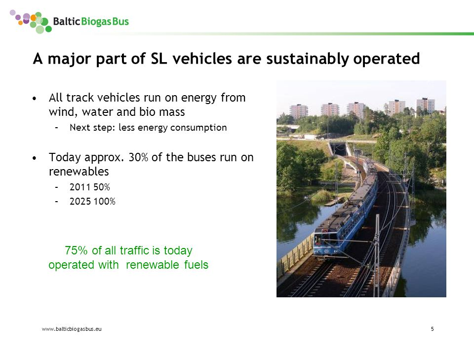 www.balticbiogasbus.eu6 The SL philosophy Strategies to reach the goals Use the best available solutions of today Support and empower projects for future solutions.