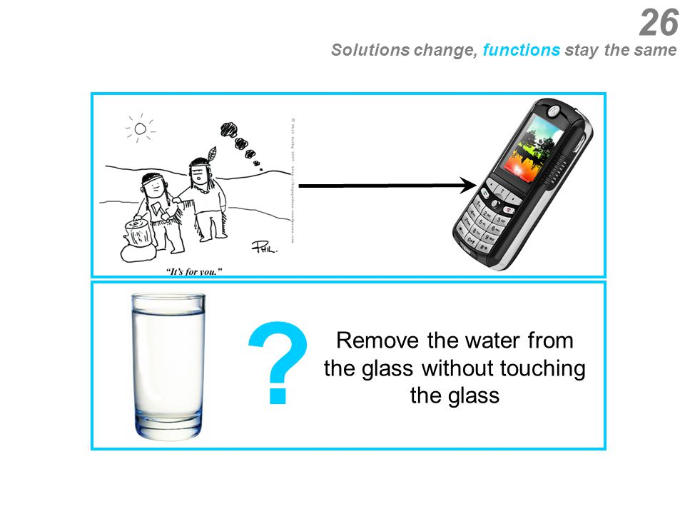 Solutions change, functions stay the same Remove the water from the glass without touching the glass ? 26